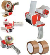 More details for packing packaging tape gun dispenser + free 2 brown tape rolls 66m parcel tape