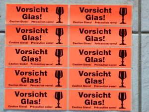 """10 Paketaufkleber / Hinweis Etiketten """"Vorsicht Glas"""""""
