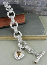 Judith Ripka Sterling Link Bracelet with Citrine Heart