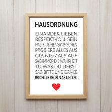 Hausordnung Kunstdruck Poster A4 Familie Liebe Spruch Herz Geschenk Deko Bild