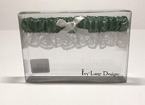 Prom Wedding Garter Bridal Lace Satin Floral Lace Belt Leg Ring Green White NIB