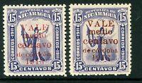 Nicaragua 1913 Gold Liberty ½¢/15¢ Red & Brown Overprint Sc 312 Mint W783