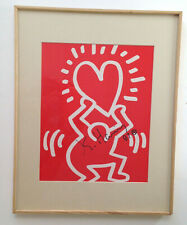 vintage Keith Haring 1987 picture pen signed in 11 x 14 frame