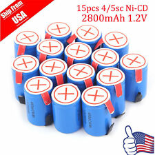 Hot 15PCS Blue Ni-Cd 4/5 Sub C SC 1.2V 2200mAh Rechargeable Battery with Tab FH