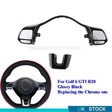 Glossy Black Steering Wheel Switch Button Frame Trim For VW Golf MK6 GTI R20