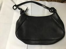 Salvatore Ferragamo hand bag Black leather AU-21/4822 authentic small 6x12 app.