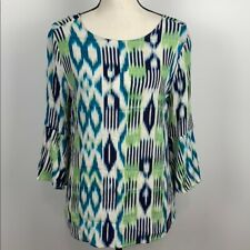 Chico's 3/4 Sleeve Blue/Green Blouse Size M
