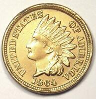 1864 Copper-Nickel Indian Cent Penny 1C - Choice AU / Uncirculated Details!