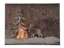 Bild Winter Wald Elch mit LED Beleuchtung Weihnachten Leinwand Wandbild 30x40cm