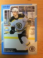OPC 2020-2021 BRANDON CARLO BLUE BORDER HOCKEY CARD #351 BOSTON BRUINS
