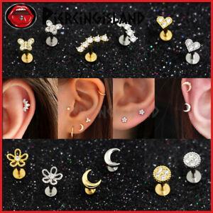 Mini Diamonds Ear Climber Cartilage Labret Tragus Stud Ring Bar Piercing Earring