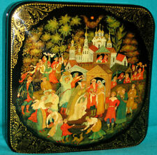 """GORGEOUS! """"Wedding"""" Russian Hand Painted Palekh LACQUER BOX"""