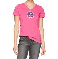 Life Is Good Womens Medium Pink V-Neck Logo Coin T-Shirt Top Tee Short Sleeve