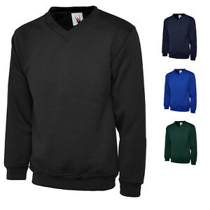 Mens 100% Plain Classic V Neck Work Sweatshirt Jumper for CASUAL LEISURE & WORK