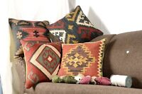 4 Set of Indian Vintage Jute Pillow Cushions Covers Rugs Throw Handmade 9023