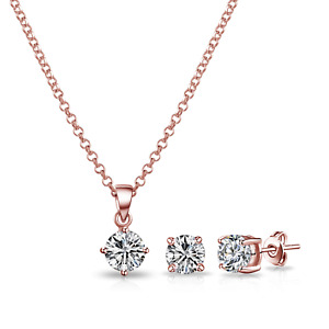 Rose Gold Round Solitaire Set Created with Swarovski® Crystals by Philip Jones