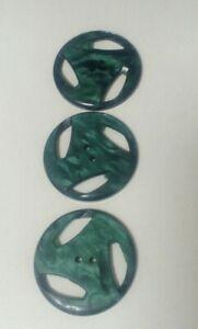 """Set of 3 Vintage Coat Buttons. Dark green /Black Marbled design,1 1/4"""" diameter"""