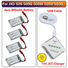 For JXD 509G 509W 510G RC Quadcopter 3.7V 800mAh Battery w/ 4in1 Charger Board