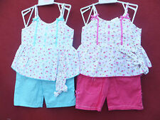 NEW 3PC BABY C GIRL DRESS, TROUSERS & HEADBAND SET Cerise or Turq 0-3,3-6,6-9MTS