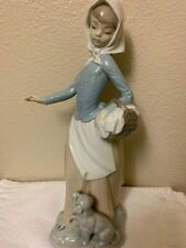 "Nao Lladro Lady with basket and dog 10.5"" tall"
