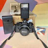 Nikon EM Camera Kit W/ New Case, Motor Wind, 50mm 1.8 Nikkor Lens & Flash Lomo!