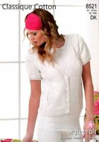 "Stylecraft Knitting Pattern 8521 Ladies Cable Cardigan DK Cotton 32-42"" V Neck"