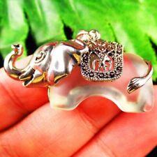 Carved White Titanium Crystal Wrap Tibetan Silver Elephant Pendant Bead S50089