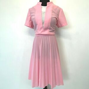 Vintage Montgomery Ward Dress size M L Pink & White V-Front Pleated Belted DS12