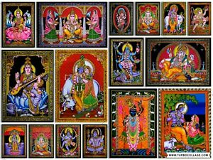 Poster Wall Hanging Hindu Religious God Goddess Home Decorative Sequin Tapestry