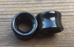 RARE! PAIR OF REAL OBSIDIAN TUNNEL PLUGS GAUGES BODY JEWELRY DOUBLE FLARED