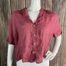 FLAX Top Medium Red Linen Women's Short Sleeve Button-up Boxy Casual