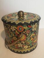Vintage Daher Floral Tin Canister for Tea Biscuits Cookies Made in England 6x7.5
