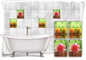 Fliesen-Aufkleber SPA Wellness Kerze Blume Grün Rosa Holz Wasser Bad WC Deko