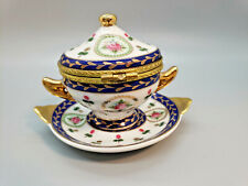 Trinket Box Covered Tea Cup and Saucer Hinged Limoge Flowers Blue Gold Trim