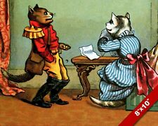 VICTORIAN CAT POSTMAN & LETTER KITTEN PET ANIMAL ART PAINTING REAL CANVAS PRINT