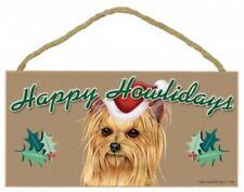 "YORKIE--Happy Howlidays-Dog Decorative Wood Plaque/Sign 5""x10"""