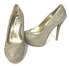 387fdb03c76b Steve Madden Deja Vu Gold Glitter Platform Heels US Womens 7.5 Holiday