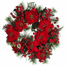 "Artificial 24"" Red Poinsettia Flowers Berries & Pine Holiday Christmas Wreath"