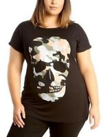 New Plus Size Ladies Glitter Printed Camo Skull Short Sleeve Casual T-Shirt Top