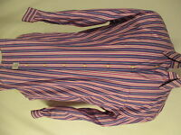Peter Millar Tailored Fit Mens Pink Blue Stripe Long Sleeve Cotton Shirt L