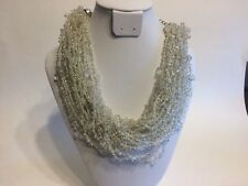 Chico's Multi-Strand Clear Beaded Crochet Statement Necklace NWT