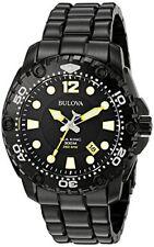 Bulova Sea King Black Dial Stainless Steel Japanese Quartz Mens Watch 98B242