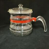 **VINTAGE McKEE GLASBAKE CLEAR GLASS COFFEE POT WITH RED BAND**