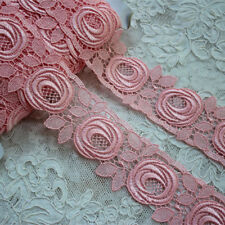 """2.16""""*1Y Embroidery Venise Lace Trim in Pink for Wedding Gown, Costume ~Lovely~"""