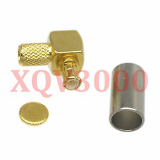2pcs Connector MCX male plug pin 90° crimp for RG58 RG142 LMR195 RG400 COAXIAL