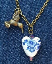 💙 HUMMINGBIRD NECKLACE VINTAGE HEART GARDEN LOVE FLOWER MOM  BIRTHDAYGIFT NEW