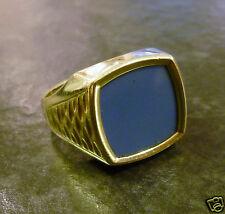 Herrenring mit blauem Lagenachat 585er Gold 14 Karat Ring Herren Goldring Gr. 67