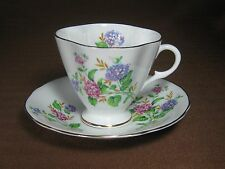 Clarence Bone China 4-lobed Cup and Saucer Blue and Pink Hydrangea Gold Trim