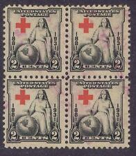 US:1931 2c Red Cross (702) Blk of 4 with extreme wandering cross. (07)