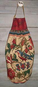 Red Breasted Robin Prim Folk Art Plastic Grocery Bag Rag Sock Holder Handmade